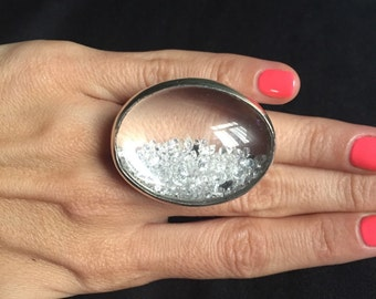New Unique 250 Cubic Zirconia / Semi Diamonds Gorgeous Real Silver Ring / HandMade Statement Ring By AAKASHA A23360