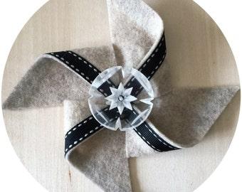 Sand/Black/White Felt Pinwheel Hair Clip