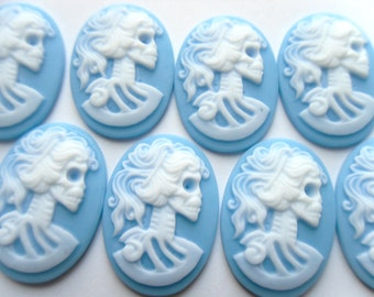 10 Gothic Blue with White Skeleton Lady Cameo Cabochons 25x18mm    -C5-1