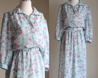 SALE: Vintage 80s Pastel Floral Dress - Sheer Midi Dress - Belted Below the Knee Shirt Dress - Mint Summer Secretary Dress - Size Large / XL