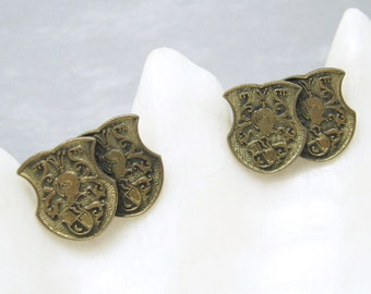 Vintage Cufflinks Double Shield Armor Mens Jewelry H720
