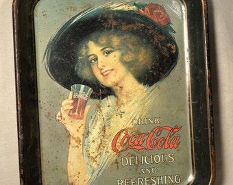 Vintage Coca Cola Tray Advertising Victorian Lady