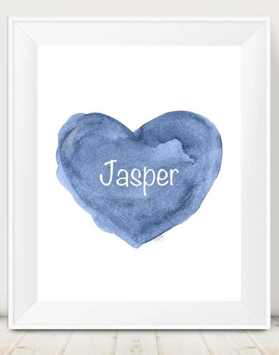 Blue Heart Print for Newborn Boy, 11x14 Personalized