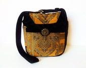 Bohemian Tapestry Gypsy Baroque Medieval Bag Purse FLURRY Velvet Chenille Hippie Black Bronze Golden Art Deco Renaissance Oriental Fairy