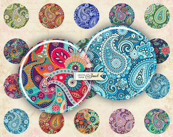 Floral Paisley - circles image - digital collage sheet - 1 x 1 inch - Printable Download