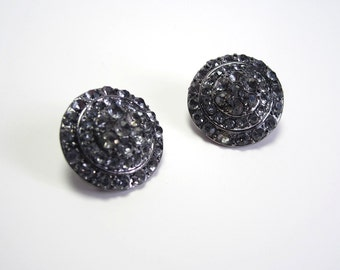 1980s - Sparkling Dark Grey Rhinestone Clip on Earrings - Can be used as shoe clips
