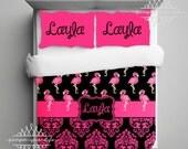 Flamingo Monogrammed Bedding Duvet or Comforter - Key West Bedding - Tropical bedding  - Pink Flamingo - Black and Hot Pink Bedding