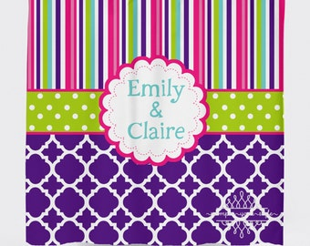 Stripe and Quatrefoil Bright Shower Curtain - Purple, Lime Green and Hot Pink Shower Curtain - Girly Shower Curtain