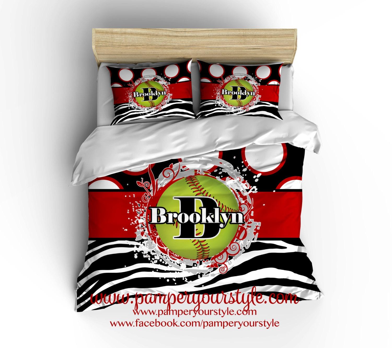 Softball Bedding Zebra Softball Comforter Softball Gift