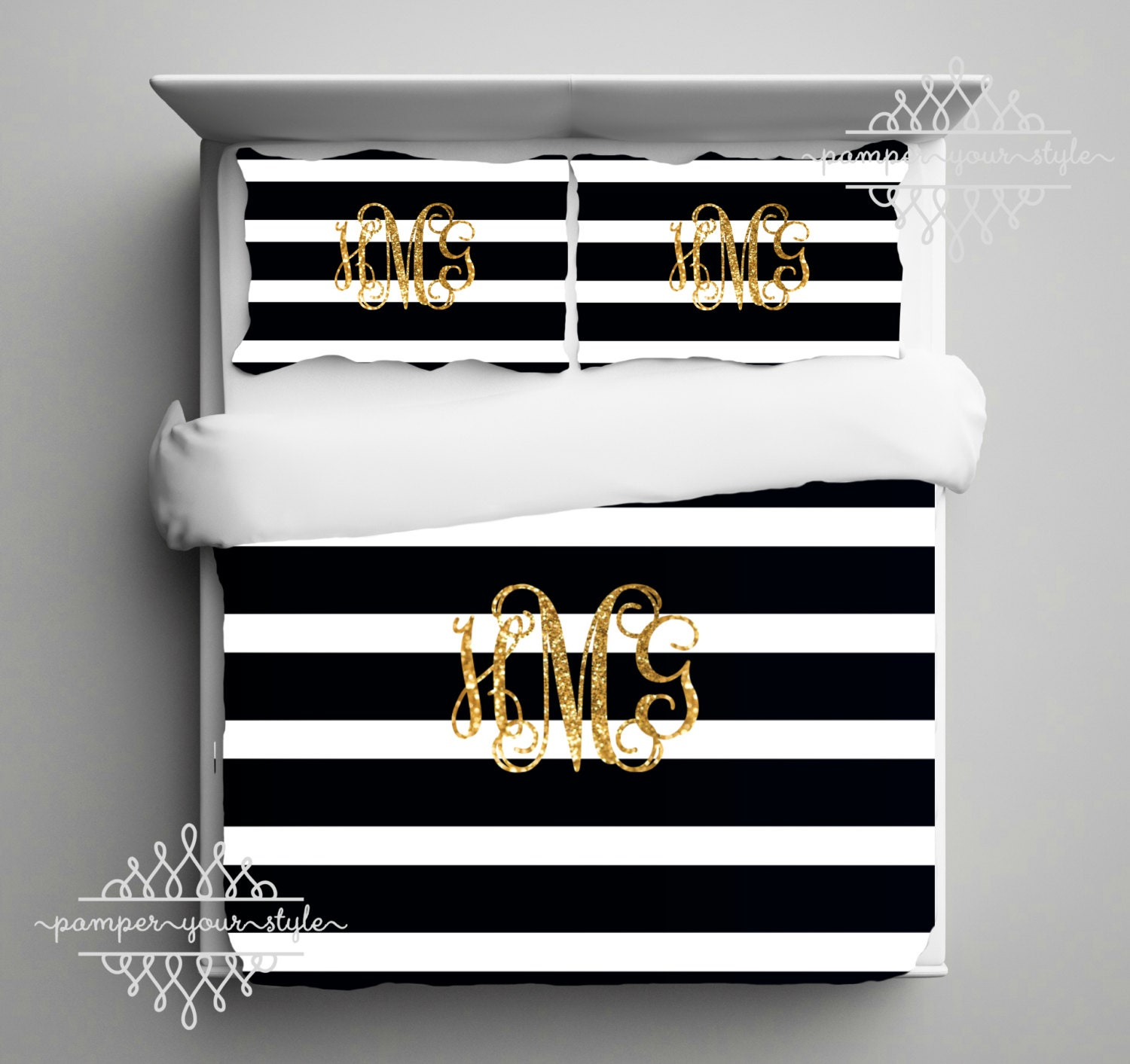 gold monogram bedding black and white stripe dorm comforter. Black Bedroom Furniture Sets. Home Design Ideas