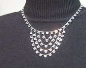 "Art Deco Sterling Open Back Crystal Swag Bib Necklace Multi Strand 2.5"" Center Drop"