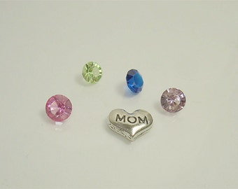 Heart Mom Stamped 7 MM floating charm with 4 crystals // Making memories floating charms// Memory locket charms// by Color Kissed Silk LLC