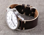 Leather Watch Strap // Horween Leather Shell Cordovan Color 8 // Thumbnail Buckle