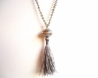 Tassel necklace, Silver grey necklace, Rosary necklace, boho necklace, trends 2016, gypsy necklace, bohemian necklace, bridesmaid gift