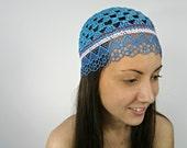 Oona Blue-Bright BLUE summer BEANIE hat crochet women hats flapper hat women lace skullcap designer hats