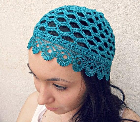 Summer Beanie Hat Crochet Pattern : Summer beanie HAT crochet TEAL women summer beanie chemo ...