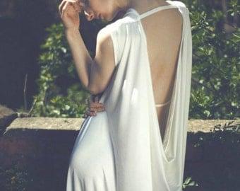 Backless Cream Drape Maxi Dress