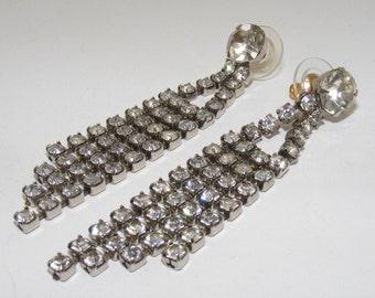 Vintage Rhinestone Chain Dangle Pierced Earrings