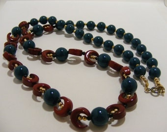 Vintage Teal Bead and Maroon Moon Bead Long Necklace