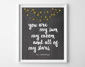 EE Cummings Quote-Gold Nursery Decor-You Are My Sun My Moon and All Of My Stars by paper and palette