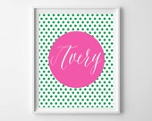 Green Pink Nursery Name Printable-Polka Dot Nursery Wall Art-Shower Decor by paper and palette