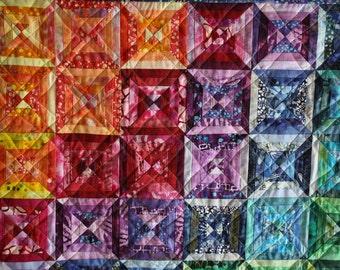 Rainbow Art Quilt ; Scrappy Strips ; Batik Fabrics ; Textile Wallhanging ; Textile Art ; Colorful Art Quilt ; Hand Dyed Quilt
