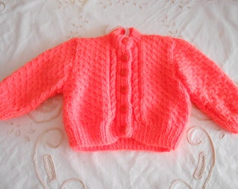 Beautiful Baby Hand Knitted Cardigan,16inch Chest,Bright Colour,0-3 Months
