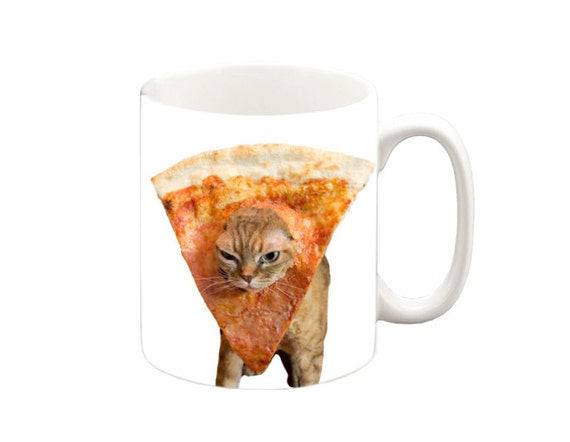 Funny Meme Coffee Mugs : Pizza cat funny mug coffee tea cup