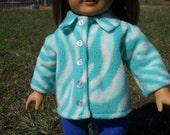 Fleece Jacket in Mint Green Zebra Print for American Girl Dolls