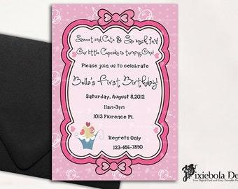 "Pink ""My little Cupcake"" Birthday Invitation"