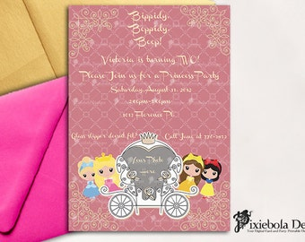 A Touch of Gold- Princess Birthday Photo Invitation -(Design Fee)