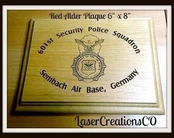 "Security Police Squadron Red Alder Plaque 6"" x 8"""