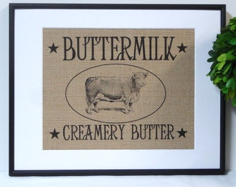 75% OFF SALE Burlap French Country Farm Cow Print