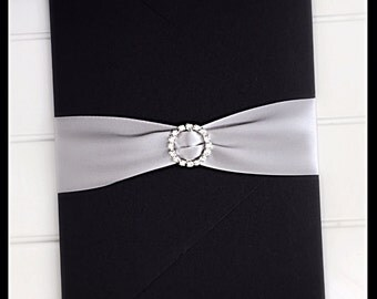 Wedding invitation, glitter wedding invitation, black wedding invitation, pocketfold wedding invitations with rhinestone buckle