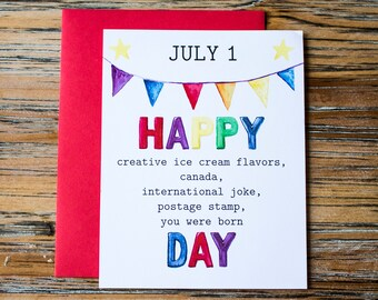 July 1: Watercolor holiday birthday card for him or her - 4.25 x 5.5