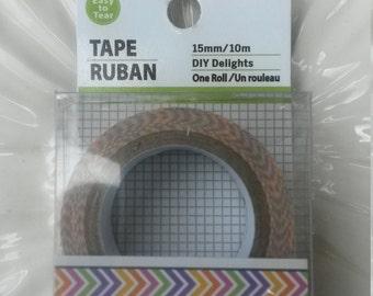 Decorative Zig Zag Paper Tape, Zig ZagTape, Pink Purple Green Orange Yellow Scrapbook Tape