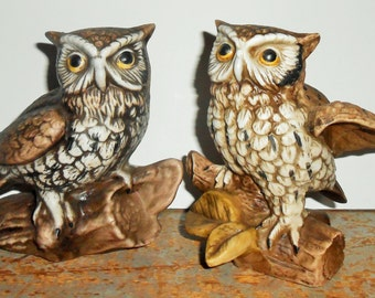Vintage Figurines, Owls, On A Branch, Brown, Homco, Porcelain, Owl Figurines, Owl Decor, Book Ends