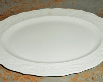 Vintage Platter, White, Farmhouse, Oval, Embossed, Shabby, Plain White, Bird, Serving Platter, Restaurant Ware, Cafe Ware