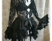 Bustle Skirt Lolita  Victoriana  Vintage Black OPHELIA Vintage Lace Victorian Decadence By Ophelias Folly