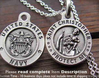 St. Christopher Necklace. Saint Christopher US Navy. US Army. US Air Force. St Christopher. Pendant. Charm. Medal. Sterling Silver Chain.
