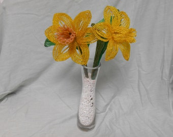 Beautiful French Beaded Yellow Daffodil Flowers - Made to Order