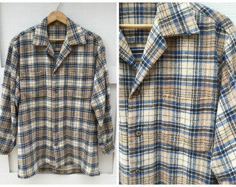 Vintage Plaid Cotton Flannel Shirt - Men's Size Large