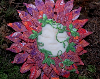 OOAK Pagan Tribal Goddess Art Flames Namaste Clay Wall Decoration, Celestial Sun, Goddess Face 4 Inches