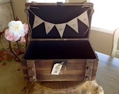 Rustic Wedding Card Box With Burlap Banner, Personalized.