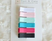 Set of 6 Fully Lined Mini Non Slip Hair Clips- Baby Barrettes, Solid Grosgrain Hair Clips