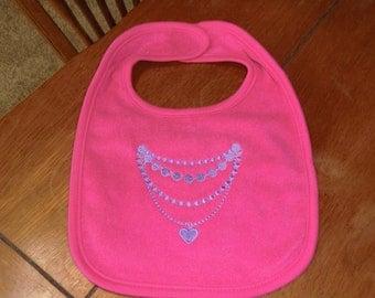 Embroidered Baby Bib - Necklace - Bright Pink Bib