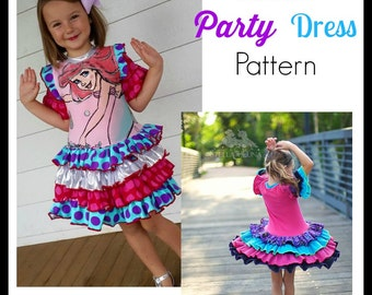 Bianca Party Dress PDF Sewing Pattern Girls Pageant Upcycle Pattern Sizes 6-12m to 12 Instant Download Little4Awhile Video Tutorial