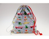 Backpack sliding child craft grey with symbols of New York drawings lined waterproof fabric