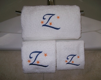 Monogrammed Bath Towel Set-Bath Towel, Hand Towel and Wash Cloth-choose your thread color and letter