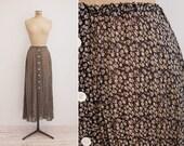 DKNY Skirt - Vintage 1990s Silk Chiffon Skirt - Black Floral Skirt Medium M